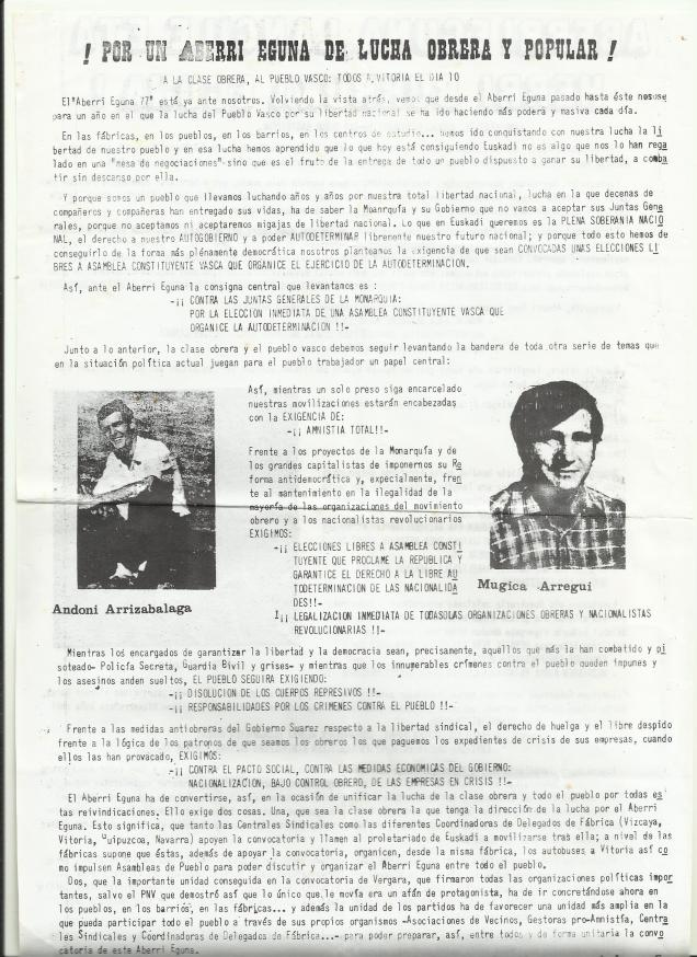 1977 Aberri egune LKIko esku orrixe