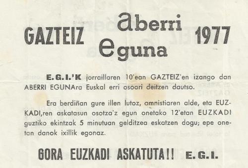 1977ko ABERRI EGUNEko E.G.I.ko esku orrixe