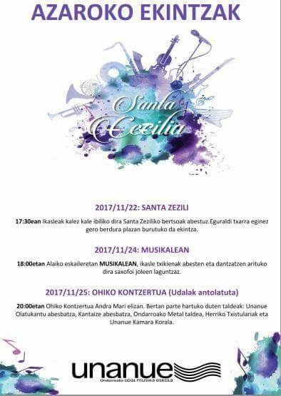 UNANUE musika eskolako ekintzak 2017ko azarun
