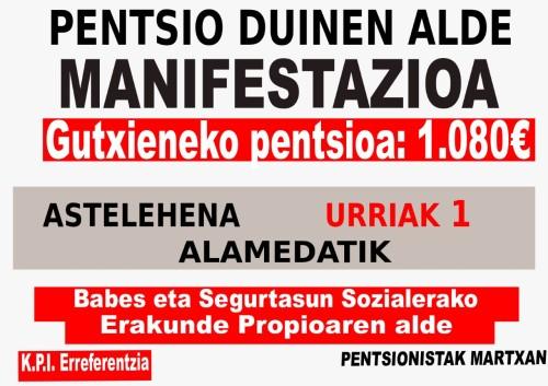 Urriak 1 manifestaziñoi PENTSIO DUIÑAN ALDE