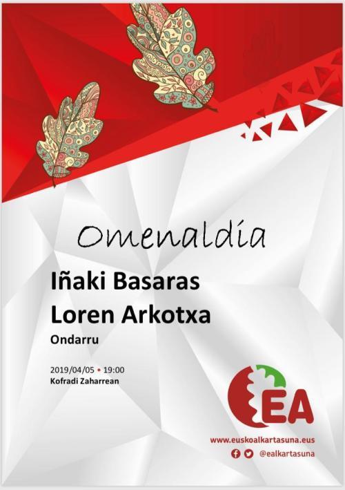IÑAKI BASARAS eta LOREN ARKOTXAi omenaldixe 2019-04-05