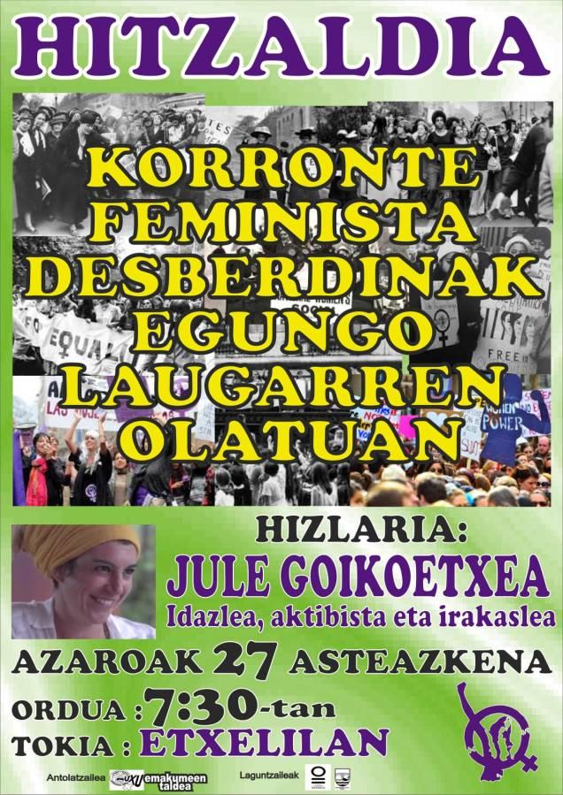 azaroak 27 hitzaldixe KORRONTE FEMINISTA DESBERDIÑAK